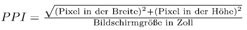 Formel zur Berechnung der Pixeldichte